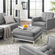 See Details - Loft Tufted Upholstered Faux Leather Ottoman in Silver Gray