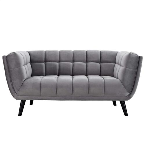 Modway - Bestow 2 Piece Performance Velvet Loveseat and Armchair Set in Gray