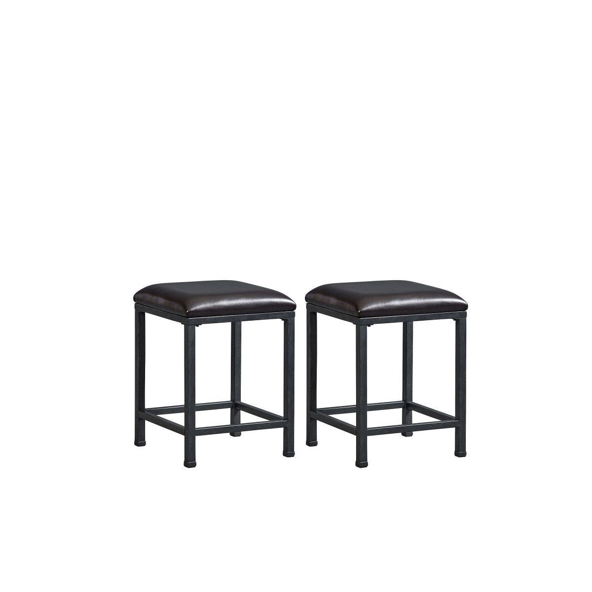 Ridgewood 2-Pack Metal Stools with Upholstered Seat, Brown