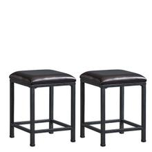 See Details - Ridgewood 2-Pack Metal Stools with Upholstered Seat, Brown