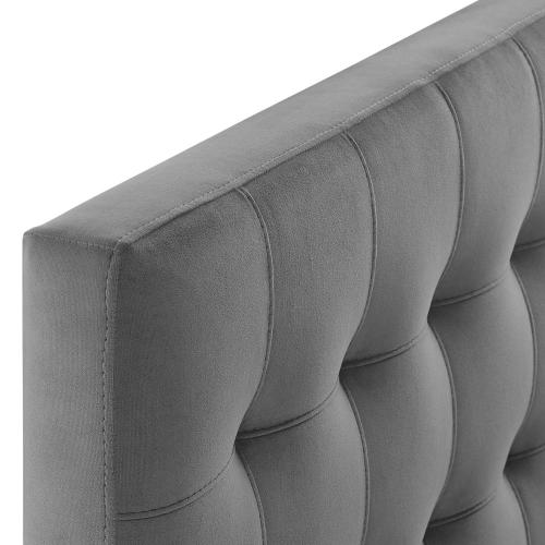 Lily Biscuit Tufted Twin Performance Velvet Headboard in Gray
