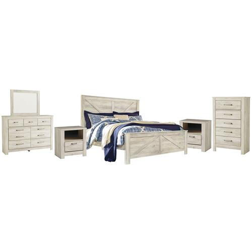 King Crossbuck Panel Bed With Mirrored Dresser, Chest and 2 Nightstands