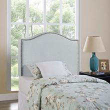 View Product - Curl Twin Nailhead Upholstered Headboard in Sky Gray