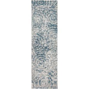 Expressions Imprinted Blooms Aqua 2'x3'