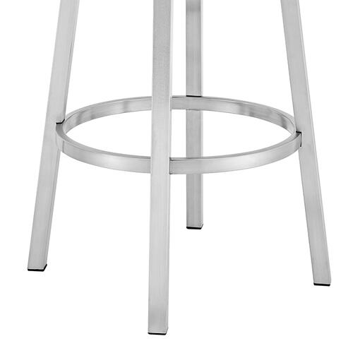"Madrid Contemporary 30"" Counter Height Barstool in Brushed Stainless Steel Finish and Red Faux Leather"
