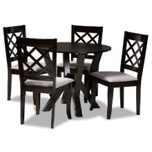 See Details - Baxton Studio Adina Modern and Contemporary Grey Fabric Upholstered and Dark Brown Finished Wood 5-Piece Dining Set