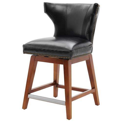 Howie KD Bonded Leather Swivel Counter Stool, Black