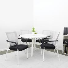 "Prado 42"" Round Conference Table With White Laminate Top and White Finish Metal Legs"