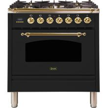 Nostalgie 30 Inch Dual Fuel Natural Gas Freestanding Range in Glossy Black with Brass Trim