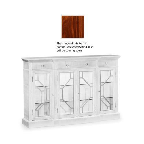 4-Door Breakfront Display Cabinet with Stainless Steel Details, Satin