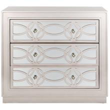 See Details - Catalina 3 Drawer Chest - Champagne / Nickel / Mirror