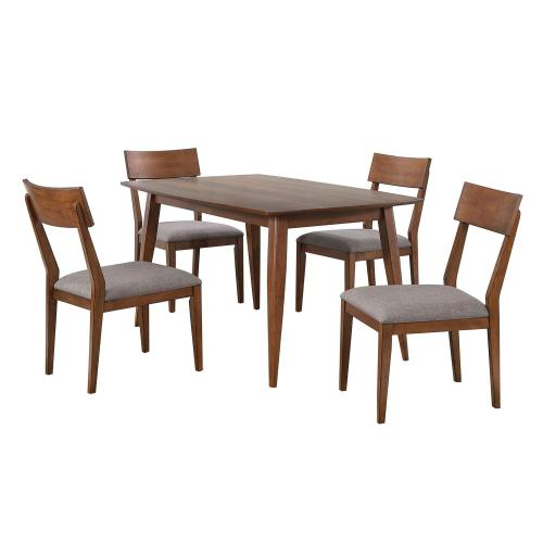 Dining Table Set w/Padded Performance Fabric Chairs - Mid Century (5 Piece)