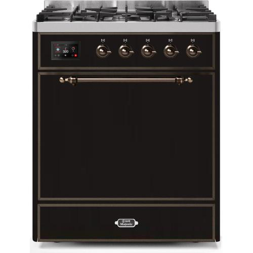 Majestic II 30 Inch Dual Fuel Natural Gas Freestanding Range in Glossy Black with Bronze Trim