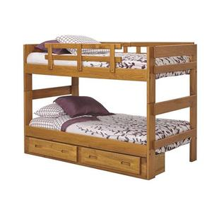 Woodcrest - Heartland 2 x 6 Split Bunk Bed with options: Honey Pine, Twin over Twin, 2 Drawer Storage