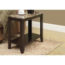 ACCENT TABLE - ESPRESSO / MARBLE TOP