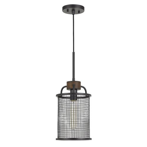 Aberdeen Mesh Metal/Wood Pendant Light (Edison Bulb Not included)