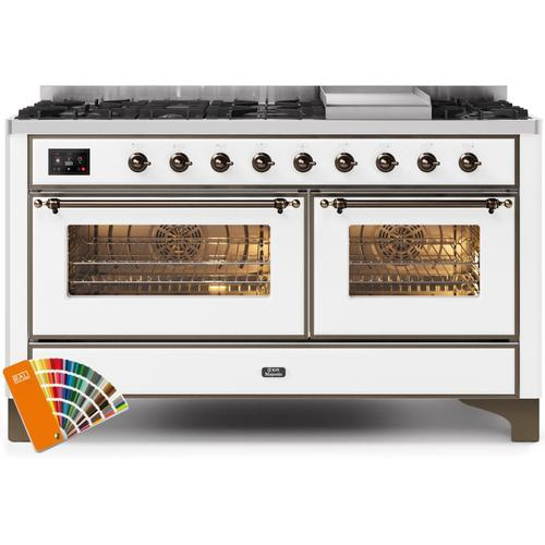 Majestic II 60 Inch Dual Fuel Natural Gas Freestanding Range in Custom RAL Color with Bronze Trim