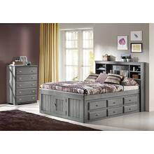 Full Size Bookcase Storage Bed with 6 Drawers Charcoal Finish