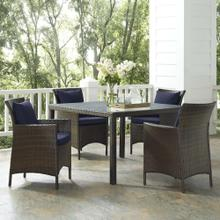 Conduit 5 Piece Outdoor Patio Wicker Rattan Set in Brown Navy