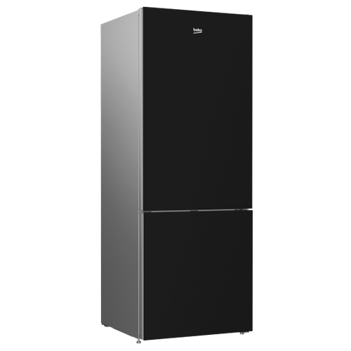 "27"" Freezer Bottom Black Glass Refrigerator with Auto Ice Maker"