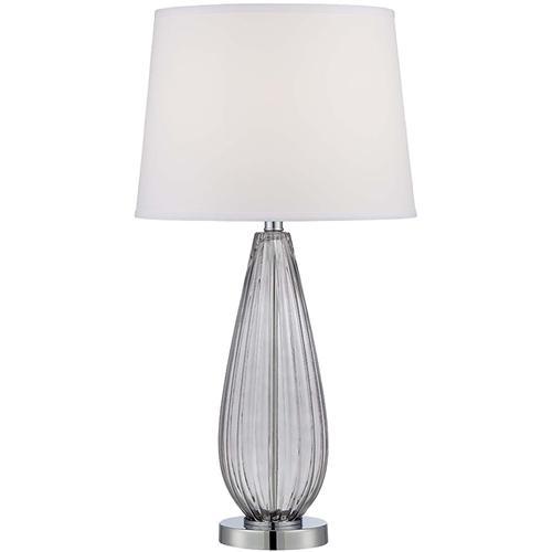 Table Lamp, Chrome/smoke Glass/white Fabric, E27 Cfl 23w