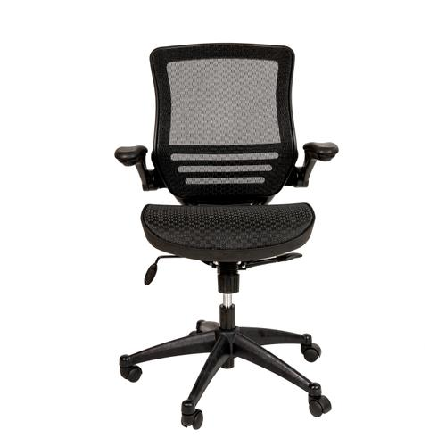 Gallery - Mid-Back Transparent Black Mesh Executive Swivel Office Chair with Black Frame and Flip-Up Arms