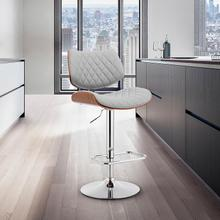View Product - Leland Adjustable Grey Faux Leather and Chrome Finish Bar Stool