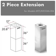 """See Details - ZLINE 2-36"""" Chimney Extensions for 10 ft. to 12 ft. Ceilings (2PCEXT-697i/KECOMi-304)"""