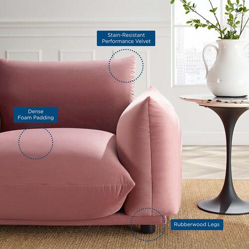 Modway - Copious Performance Velvet Armchair in Dusty Rose