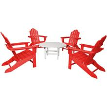 Hanover All-Weather 5-Piece Adirondack Chat Group - Red Chairs/ White Table, ADCHATSET5PCSR