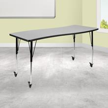 "Mobile 26""W x 60""L Rectangular Wave Collaborative Grey Thermal Laminate Activity Table - Standard Height Adjustable Legs"