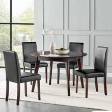 Prosper 5 Piece Faux Leather Dining Set in Cappuccino Black