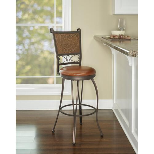 Muted Copper Stamped Back 30-inch Barstool, Bronze and Brown
