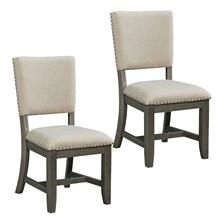 Omaha 2-Pack Upholstered Side Chairs with Grey Legs