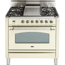 Nostalgie 36 Inch Gas Natural Gas Freestanding Range in Antique White with Chrome Trim Trim