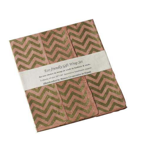 "20"" x 30"" x 3 sheets Light-Pink Gift Wrap (Zig Zag Option)"