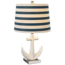 White Anchor with Stripe Shade Table Lamp. 60W Max