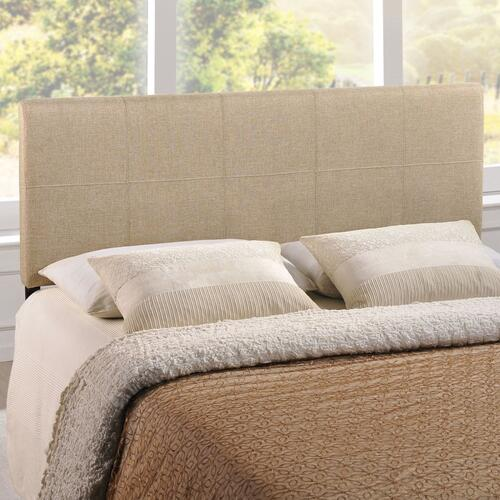 Oliver Queen Upholstered Fabric Headboard in Beige
