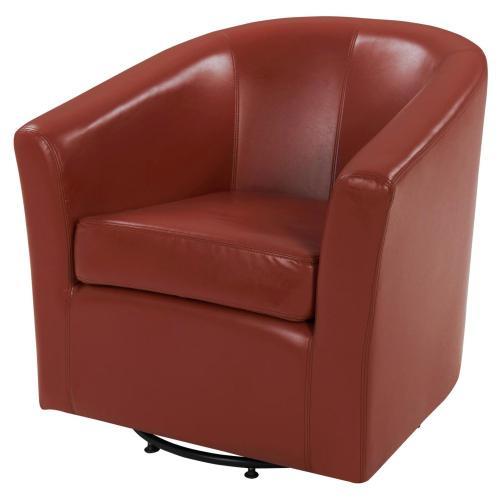 Hayden SWIVEL Bonded Leather Accent Arm Chair, Pumpkin