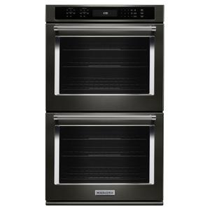 "27"" Double Wall Oven with Even-Heat™ True Convection - Black Stainless Steel with PrintShield™ Finish Product Image"