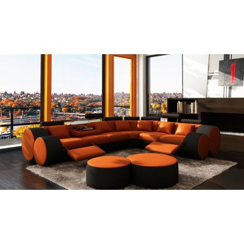 Divani Casa 3087 - Modern Orange and Black Bonded Leather Sectional Sofa & Coffee Table
