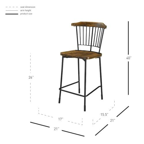 Greco KD Counter Stool Frosted Black Legs, Walnut