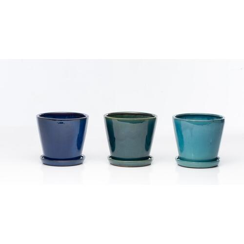 "Marianne 8"" Cone Petits Pots w/ attach saucer Assortment (3 colors, 2 each)"