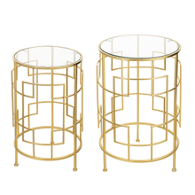 See Details - Round Art Deco Side Table with Tempered Glass Top (2 pc. set)