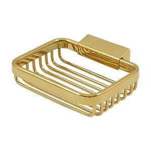"Wire Basket, 4 3/4"" Rectangular Soap Holder - PVD Polished Brass Product Image"
