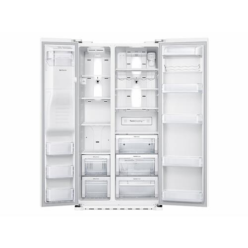 Samsung - 22 cu. ft. Counter Depth Side-by-Side Refrigerator in White