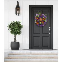 Haunted Hill Farm 20-In. Halloween Ribbon Wreath Door Decoration with Ornaments and Glitter Pumpkin, HH020HLWR001-0MLT