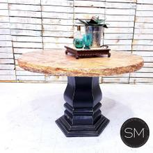 View Product - Round Dining Table Striking Peach Chisel Travertine Top /1203 D