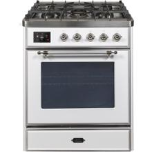 Majestic II 30 Inch Dual Fuel Natural Gas Freestanding Range in White with Chrome Trim