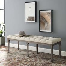 Province French Vintage Upholstered Fabric Bench in Beige
